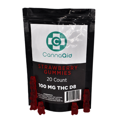 Canna Aid Delta-8 THC Strawberry Gummies - 100mg /20pc (5mg ea) - $0.199/mg CBD