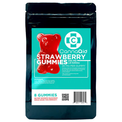 Canna Aid Delta-8 THC Strawberry Gummies - 240mg/ 8pc (30mg ea) - $0.104/mg CBD