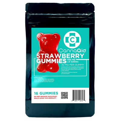 Canna Aid Delta-8 THC Strawberry Gummies - 480mg/ 16pc (30mg ea) - $0.083/mg CBD